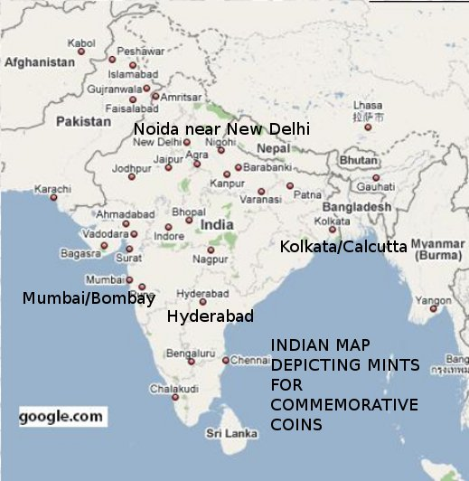 Commemorative Coins of India: Map Depicting the Mints